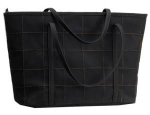 Black Large Suede Textured Shoulder Tote Handbag With Stitch Detailing