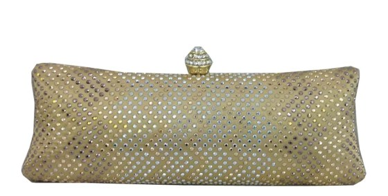 Gold Rhinestone Crystal Hard Box Cocktail Wedding Clutch Purse