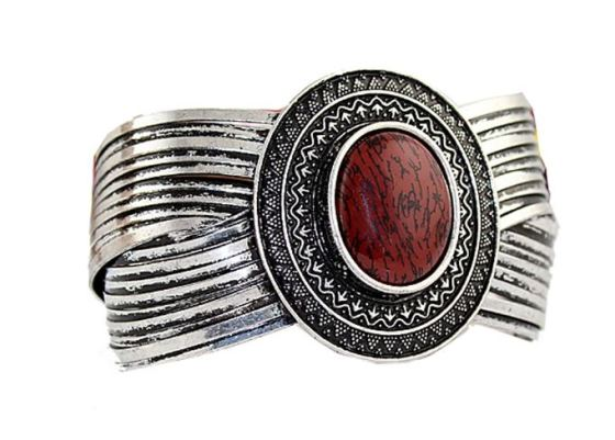 Antique Vintage Tribal Style Cuff Bangle Bracelet With Large Stone Accent