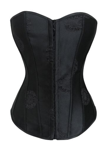 Sexy Black Oriental Pattern Floral Satin Corset Lace Up Bustier With Strong Boning