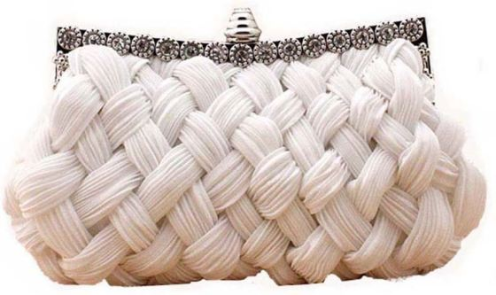 White Pleated and braided Rhinestone studded Bridal Clutch Purse Bag
