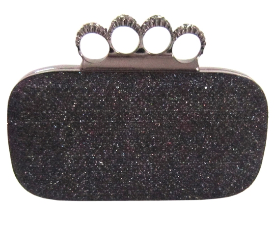 Black Glitter Metallic Duster Knuckle Clutch Evening Bag Purse With Rhinestones