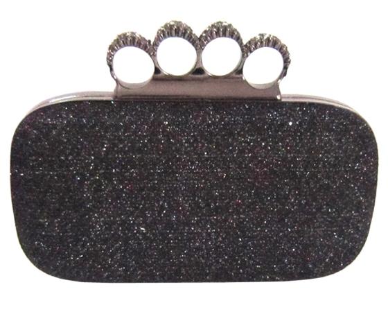 Black Glitter Metallic Duster Knuckle Clutch Evening Bag Purse With Rhinestones