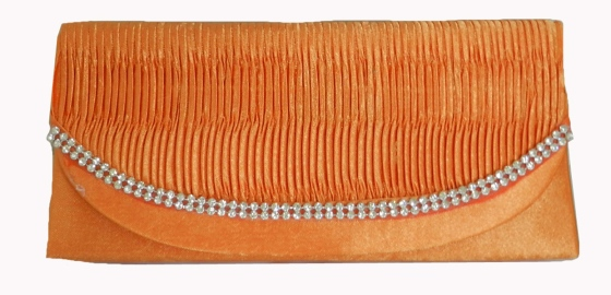 Orange Pintuck Satin Wedding Evening Cocktail Clutch Purse with Rhinestones