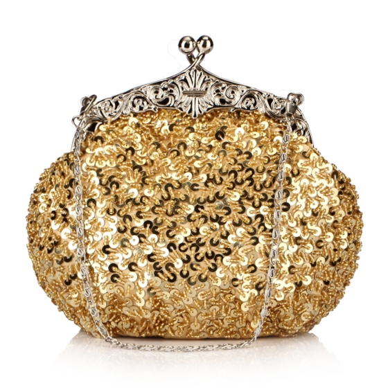 Shimmer Gold Fully Sequined Mesh Antique Style Casual Clutch purse Bag