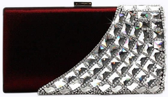 Wine Red Crystal Rhinestone Studded Satin Hard Box Cocktail Clutch Purse