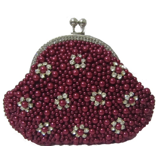 Wine Red Pearl Bead Bridal Wedding Evening Clutch Purse with Rhinestones