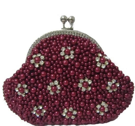 Wine Red Pearl Bead Bridal Wedding Evening Clutch Purse with Rhinestones