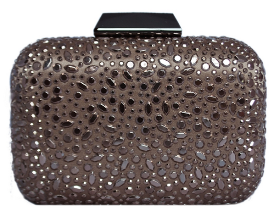 Chocolate Brown Sequin Crystal Hard Box Cocktail Clutch Purse