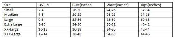 Corset Sizing Chart