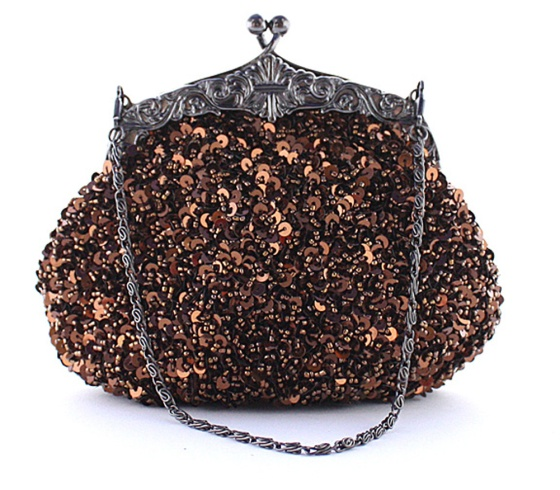 Brown Fully Sequined Antique Style Casual Clutch purse Bag
