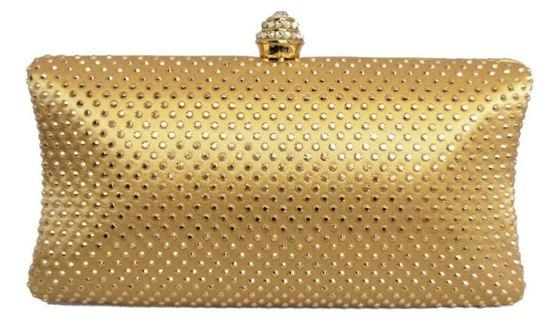 Gold Rhinestone Crystal Hard Box Cocktail Clutch Purse