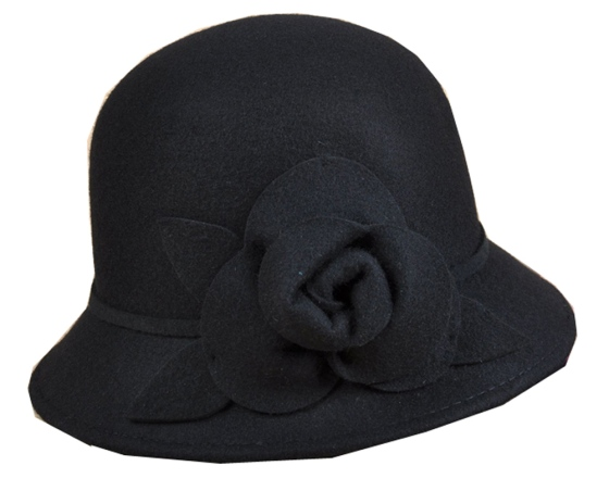Black Pure Wool Bucket Style Cloche Hat With Flower