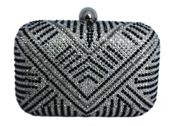 Grey, Black & White Rhinestone Crystal Hard Box Cocktail Clutch Purse