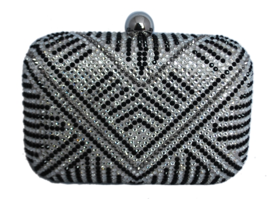 Grey, Black & White Rhinestone Crystal Hard Box Cocktail Clutch Purse