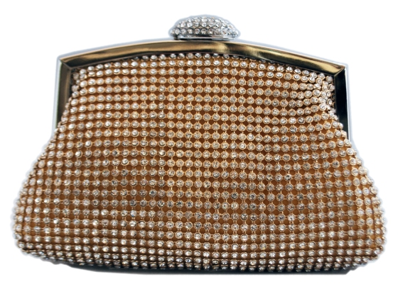 Gold Rhinestone Crystal Sequin Mesh Bridal Wedding Evening Cocktail Clutch Purse
