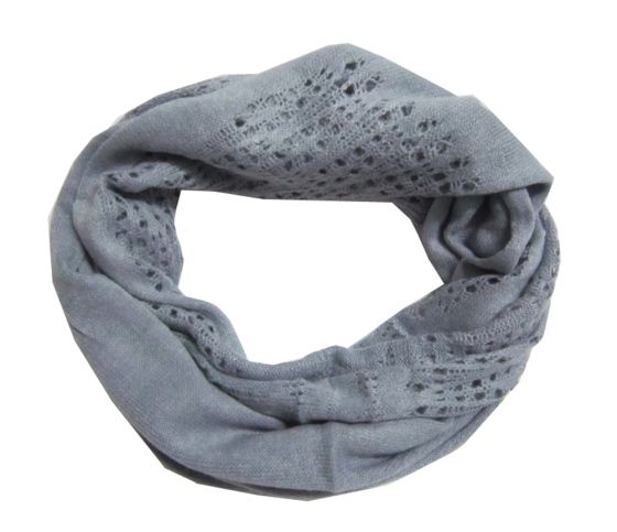 Light Grey Knitted Infinity Tube Scarf