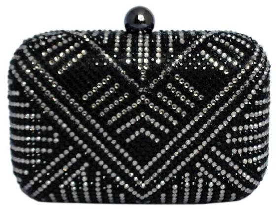 Black & White Rhinestone Crystal Hard Box Cocktail Clutch Purse