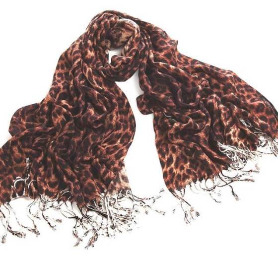 Black and Brown Animal Leopard Print Acrylic Wool Pashmina Scarf Shawl Wrap