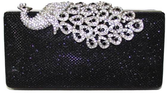 Mesh Rhinestone Peacock Hard Box Wedding Cocktail Clutch Purse