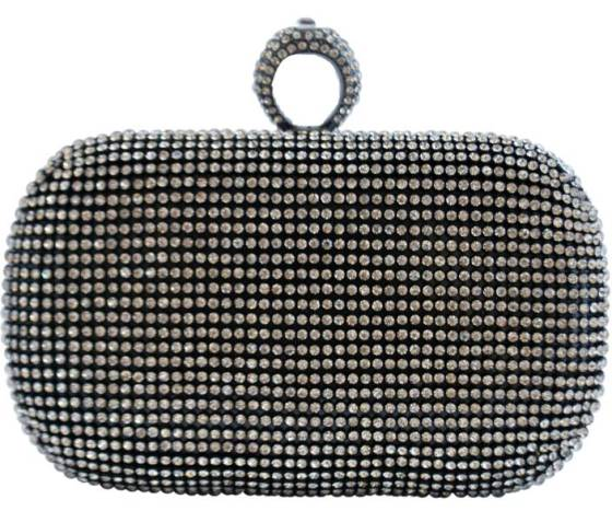 Black Crystal One Ring Duster Knuckle Style Clutch Purse Cocktail Bag with Rhinestone Crystals