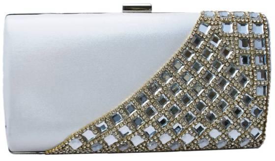 Pearl White Crystal Rhinestone Studded Satin Hard Box Cocktail Clutch Purse