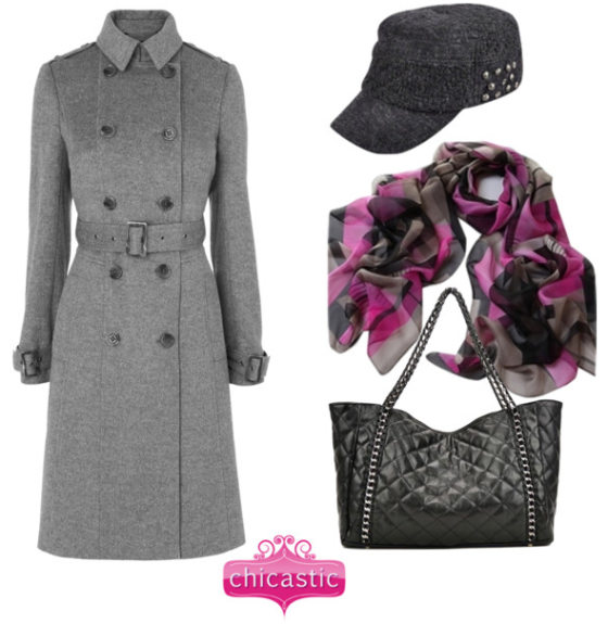 Cold weather fashion featuring a hat, scarf and handbag by Chicastic.com