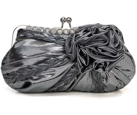 Dark Grey Pewter Gray Shimmer Evening Clutch Purse Bag with Rhinestones