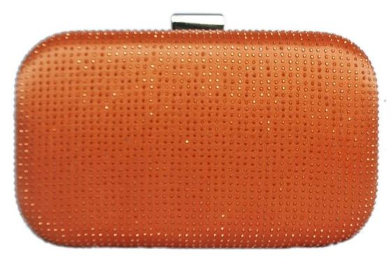 Orange Bridal Sequin Crystal Hard Box Wedding Cocktail Clutch Purse