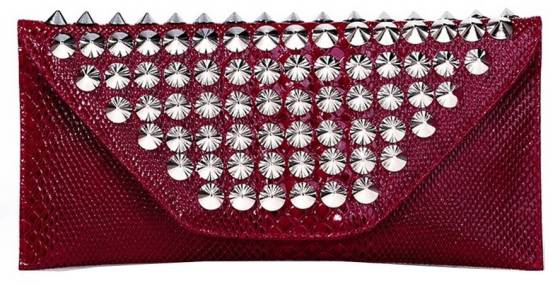Red Faux Patent Leather Envelope Cocktail Evening Clutch Purse With Metal Studs
