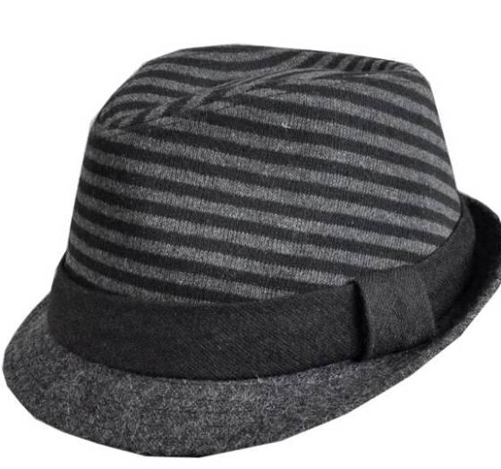 Black & Grey Wool Blend Striped Fedora Indiana Jones Style Hat - Women's