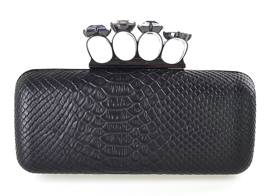 Black Faux Snakeskin Duster Knuckle Four Ring Clutch Purse Cocktail Bag with Crystal Clutch