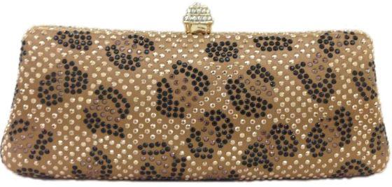 Brown And Black Rhinestone Crystal Leopard Pattern Hard Box Evening Clutch Bag