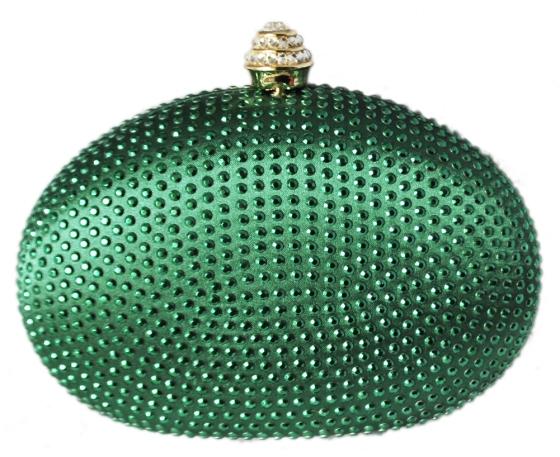 Emerald Green Rhinestone Crystal Minaudiere Hard Mini Cocktail Clutch Purse