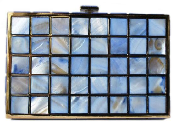 Mother of Pearl Shell Crystal Metallic Hard Box Wedding Evening Cocktail Clutch Purse