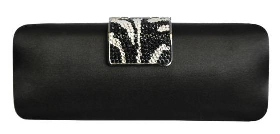Black Satin Hard Box Cocktail Wedding Clutch Purse With Rhinestone Crystal Closure
