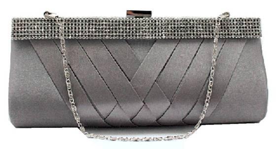 Grey Satin Cocktail Evening Wedding Clutch Purse Bag with Rhinestone