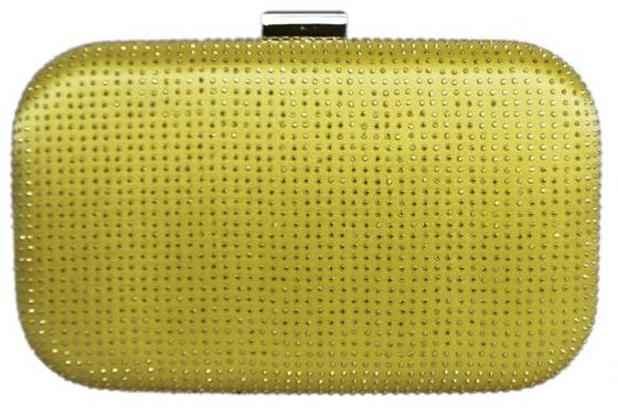 Yellow Bridal Sequin Crystal Hard Box Wedding Clutch Purse