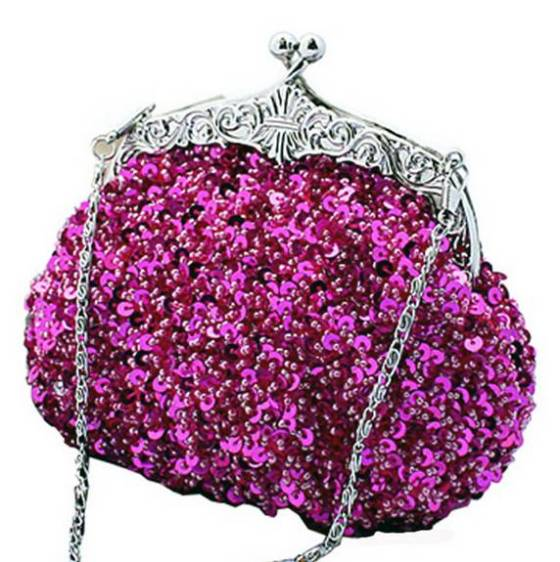 Fuchsia Pink Fully Sequined Antique Style Casual Clutch purse Bag