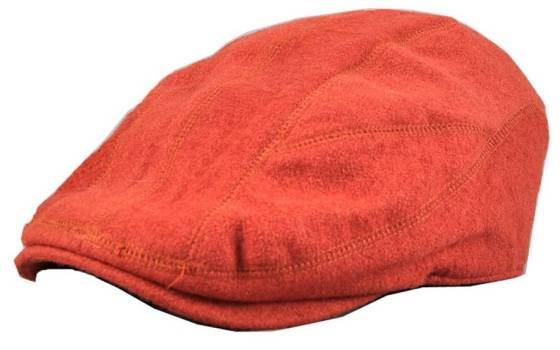 Red Orange Wool Blend Newsboy Cap Flat Driving Hat - Women's