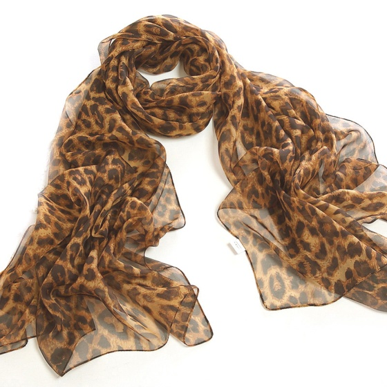 Medium Brown Chiffon Leopard Print Scarf