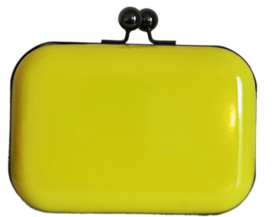 Neon Yellow Hard Case Clutch