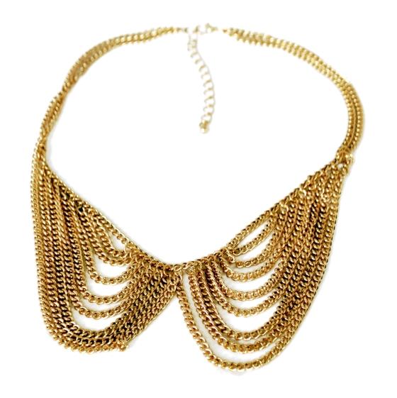Gold Tone Tassel Multi Chain Chain link Collar Necklace