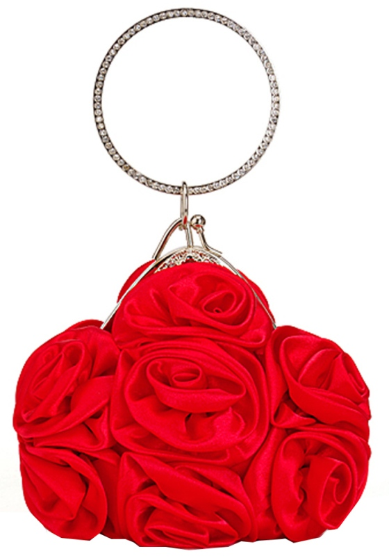 Red Rosette Flower Girl Clutch Purse