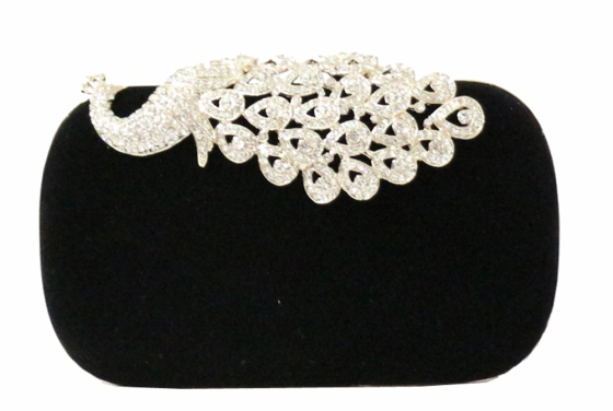 Black Suede Peacock Motif Cocktail Clutch