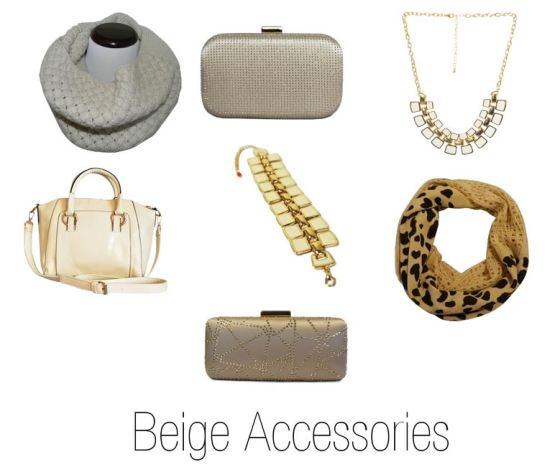 Beige Clutch Purse & Accessories