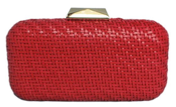 Red Basket Weave Clutch Purse