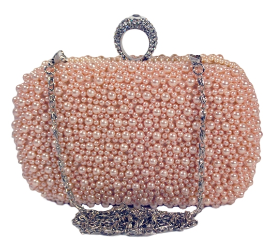 Pearl Embellished One Ring Wedding Evening Cocktail Clutch Bag