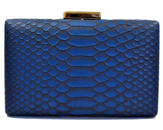 Blue Snakeskin Pattern Hard Clutch Purse