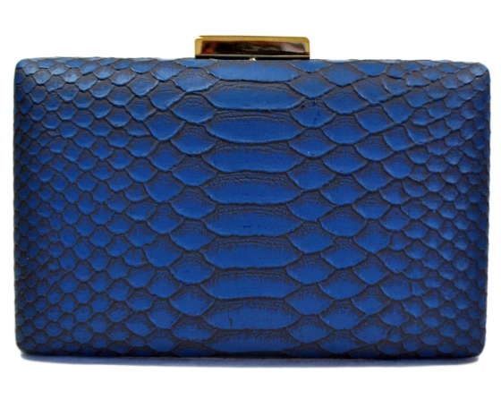 Blue Snakeskin Pattern Hard Clutch Purse